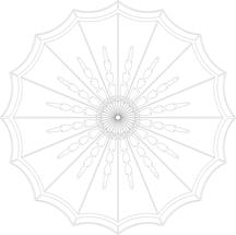 drawing of ornate plaster ceiling rose